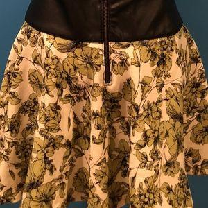 Green Floral Mini Skirt